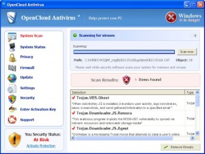 OpenCloud Antivirus (FakeScanti) GUI