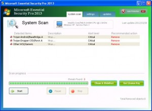 Micorsoft Essential Security Pro 2013 GUI