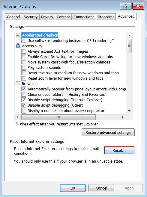 Reset Internet Explorer 2