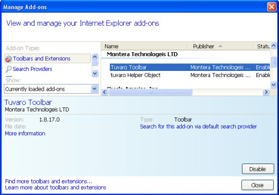 Disable Tuvaro toolbar Internet Explorer