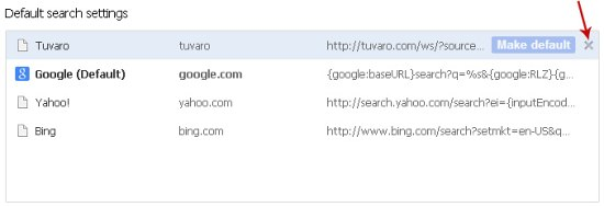 Remove Tuvaro Search Provider Chrome