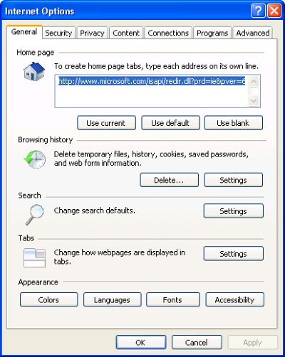 Restore Home page Internet Explorer