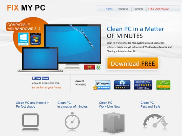Misleading site pushing Fix My PC malware