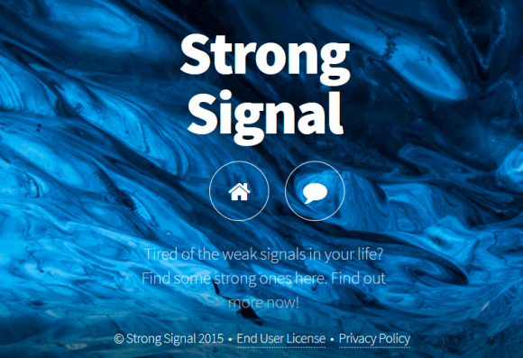 The uninformative website for Strong Signal