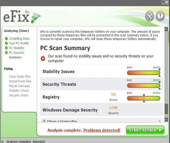Main console of eFix Pro returning rogue scan results