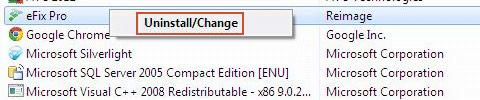 Uninstall eFix Pro