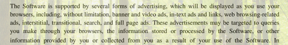 Types of advertisements displayed to victim