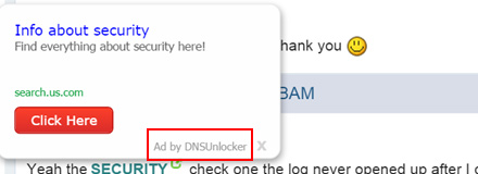 Regular text on a website turned into ad link by DNS Unlocker