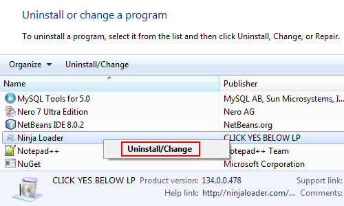 Uninstall Ninja Loader
