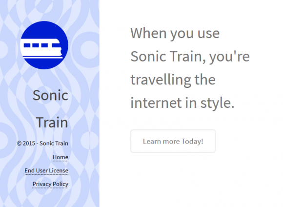 Sonic Train site with hardly any relevant product description